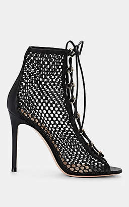 Gianvito Rossi Women's Helena Mesh & Leather Ankle Booties - Black