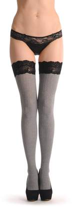 LissKiss Warm Striped With Black Velvet Silicon Floral Garter 60 Den - Hold Ups