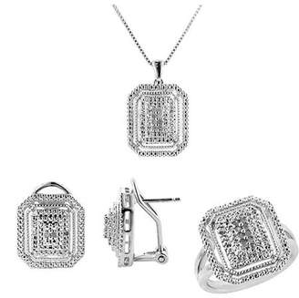 """Online 1/4 Carat T.W. Round White Diamond Rhodium Plated Cluster Ring, Earrings and Pendant Set, 18"""""""