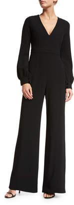 Alexis Isadore Bishop-Sleeve Wide-Leg Jumpsuit, Black