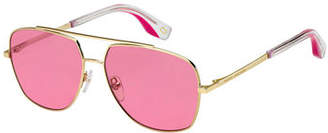 Marc Jacobs Square Metal Aviator Sunglasses