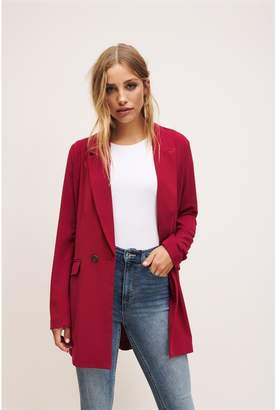 Dynamite Long Double Button Blazer Biking Red