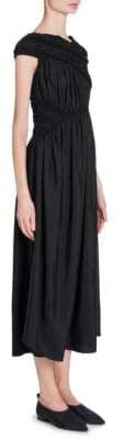 Jil Sander Silk Ruched Asymmetric Midi Dress