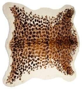 LUX FAUX FUR Leopard Print Faux Fur Rug