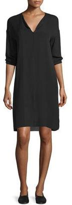 Vince Split-Neck Pintuck Silk Dress $395 thestylecure.com