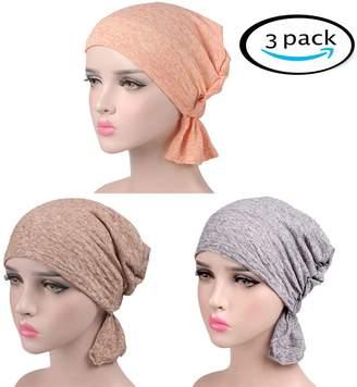RACHELJP Chemo Caps Hats Head Turban Wraps Women Cotton Beanie Slouch Cap, 3 Pack