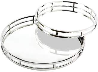 Twos Company Princeton Mirrored Gallery Stainless Steel Trays (Set of 2)