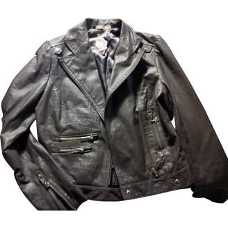 Sarah Wayne Grey Leather Leather Jacket for Women