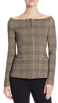 Theory Plaid Off Shoulder Jacket $495 thestylecure.com