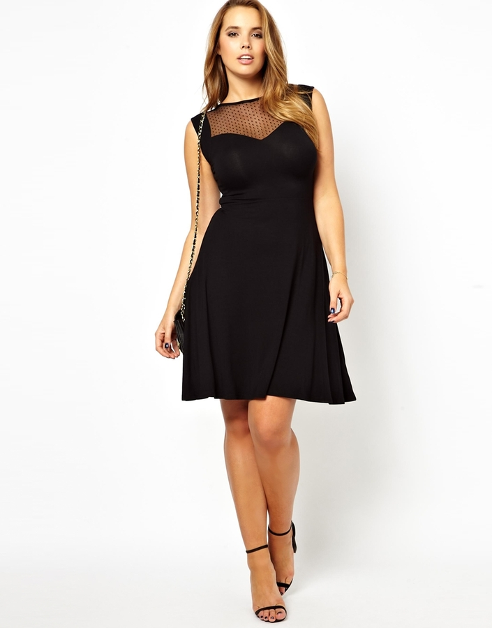 Asos Exclusive Skater Dress With Dobby Spot