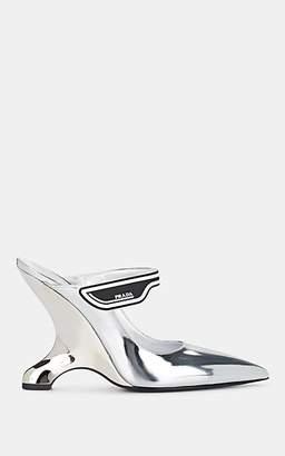 4bbd20657ee5 Prada Women s Metallic Leather Wedge Mules - Silver