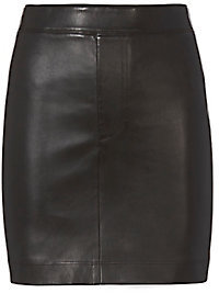 Helmut Lang Black Stretch Leather Skirt $645 thestylecure.com