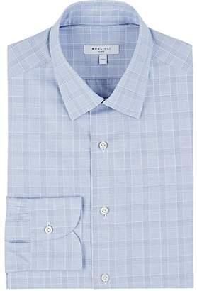 Boglioli MEN'S CHECKED COTTON DRESS SHIRT - BLUE PAT. SIZE 14.5
