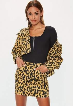 Missguided Mustard Leopard Denim Co Ord Micro Mini Skirt