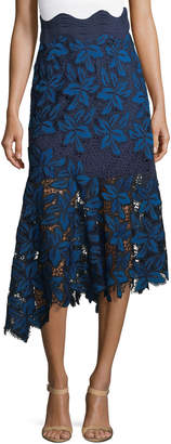 Sea Asymmetric Mosaic Lace Midi Skirt
