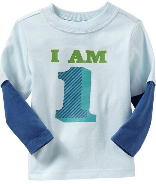 """I am 1"" Long-Sleeve Tees for Baby"