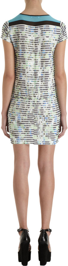 ICB Textured Striped Multicolored Abstract Print Dress