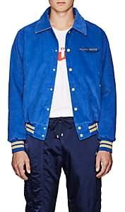 Filling Pieces Men's Appliquéd Cotton Corduroy Varsity Jacket - Blue