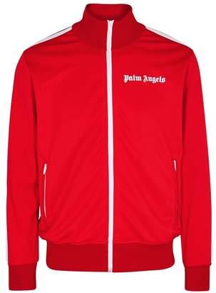 Palm Angels Red Zipped Jersey Sweatshirt