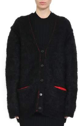 Maison Margiela Black Mohair Blend Brushed Cardigan