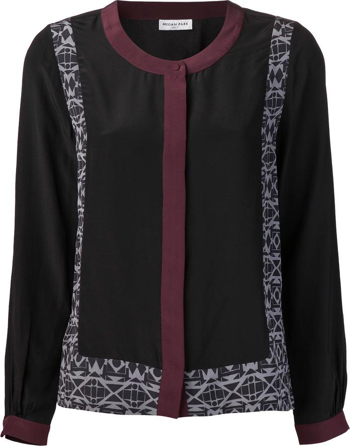 Megan Park Geo Silk Jockey Shirt Blk Multi