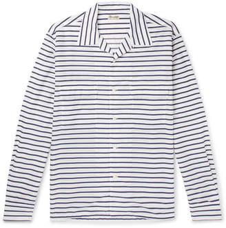 Camoshita Camp-Collar Striped Cotton And Silk-Blend Shirt