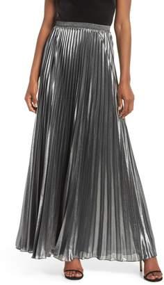 Eliza J Pleated Lame Maxi Skirt