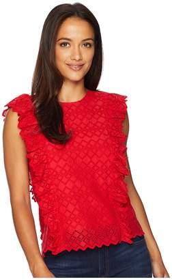 Lauren Ralph Lauren Petite Eyelet Ruffled Cotton Top Women's Clothing