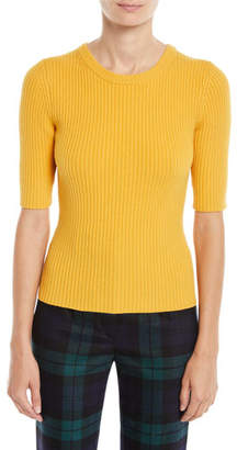 Michael Kors Elbow-Sleeve Crewneck Cashmere-Blend Pullover