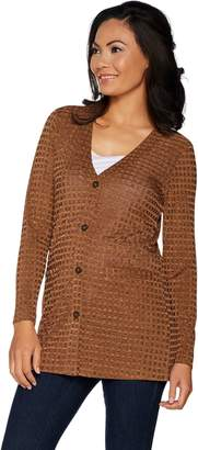 Dennis Basso Textured Rib Knit Button Front Cardigan