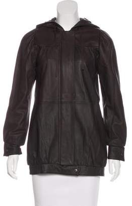 Madison Marcus Hooded Leather Jacket
