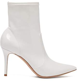 Gianvito Rossi Imogen 85 Leather Trimmed Pvc Ankle Boots - Womens - White