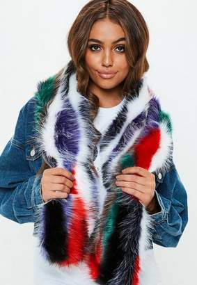 Missguided Faux Fur Striped Scarf