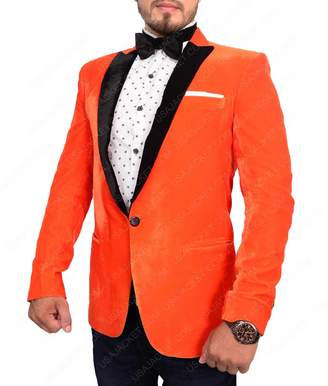 The Custo Jacketen's Eggsy Orange Velvet One Button Kingsan Tuxedo Jacket Suit