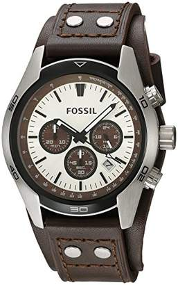 Fossil Men's 'Sport Cuff' Quartz Stainless Steel and Leather Casual Watch