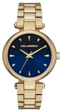 Aurelie Yellow Goldtone Stainless Steel Three-Hand Bracelet Watch