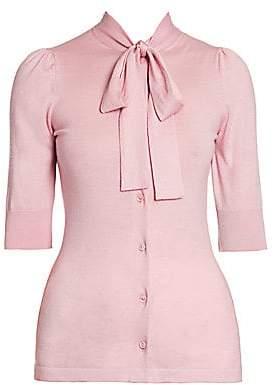 Dolce & Gabbana Women's Silk & Cashmere Tieneck Short-Sleeve Cardigan