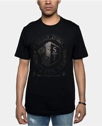 Sean John Men Lion Crest Rhinestone Logo Graphic T-Shirt