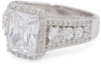 Sterling Silver Cz Deco Ring