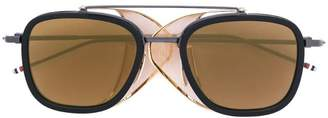 Thom Browne Eyewear Black & Gold Mesh Side Sunglasses