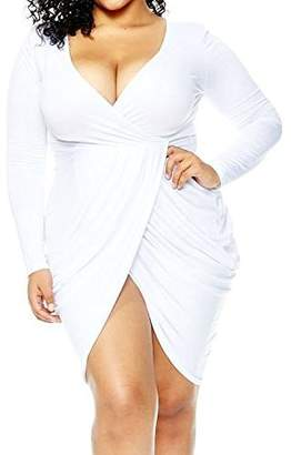 POSESHE Womens Plus Size Deep V Neck Bodycon Wrap Dress with Front Slit XL