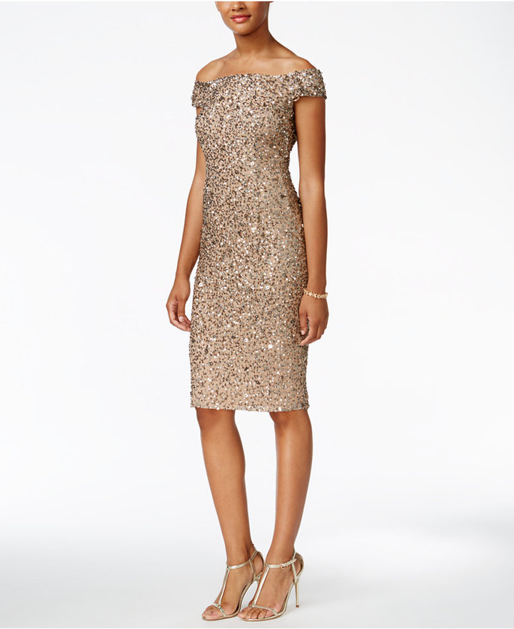 Adrianna PapellAdrianna Papell Off-The-Shoulder Sequined Dress