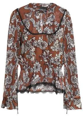 Nicholas Ruffled Floral-Print Silk-Crepe Blouse