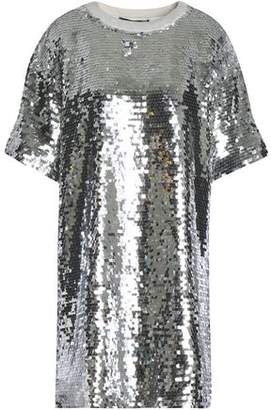 Love Moschino Sequined Cotton-Blend Mesh Mini Dress