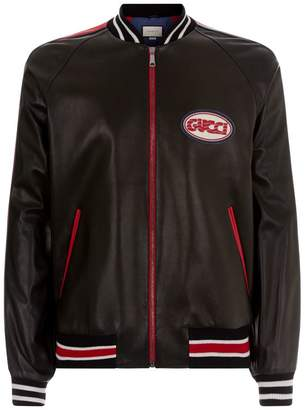 Gucci Leather Varsity Bomber Jacket