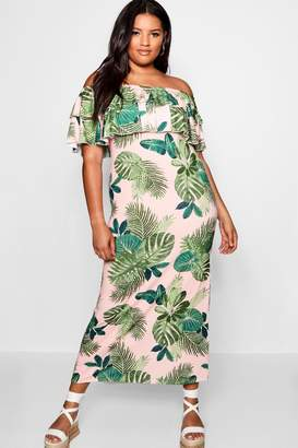 boohoo Plus Palm Print Off Shoulder Maxi Dress