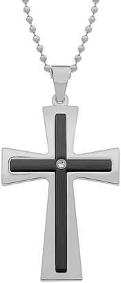 Lynx Stainless Steel Black Ion Cubic Zirconia Cross Pendant - Men