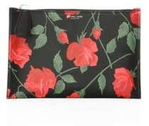 Michael Kors Women's Large Rose-Print Leather Pouch - Red Black