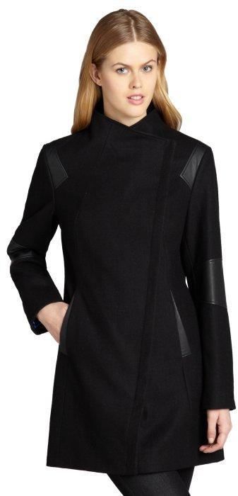 Calvin Klein black asymmetrical wool coat with faux leather trim