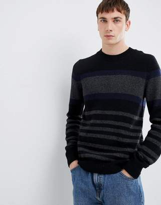 Selected knitted sweater with block stripe in lambswool
